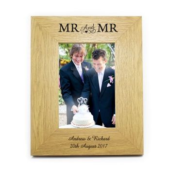 6x4 Mr & Mr Wooden Photo Frame